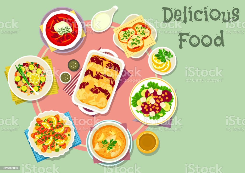 Fish and vegetable dishes for lunch icon vector art illustration