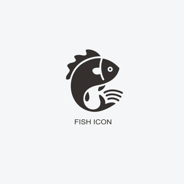 Fish animal template for design. Icon of seafood restaurant. Illustration of graphic flat style vector art illustration