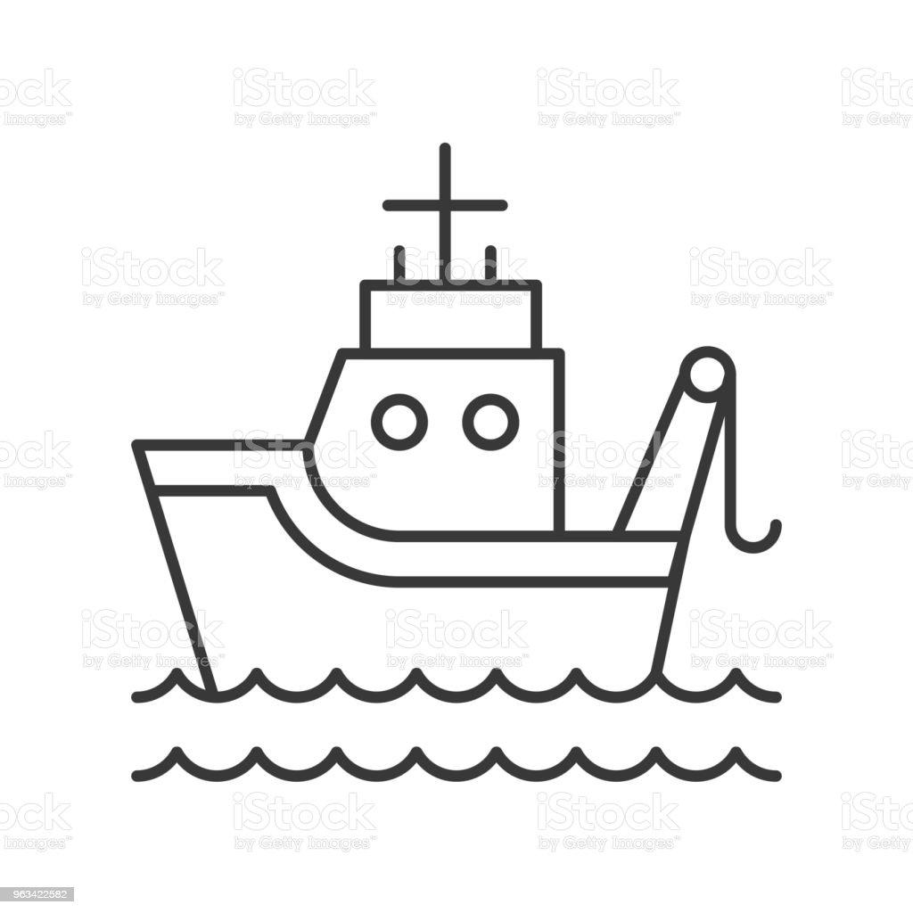 Ryba łódź na falach morskich zarys ikona na białym tle - Grafika wektorowa royalty-free (Ilustracja)