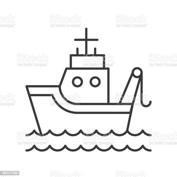 Ryba Łódź Na Falach Morskich Zarys Ikona Na Białym Tle - Stockowe grafiki wektorowe i więcej obrazów Ilustracja