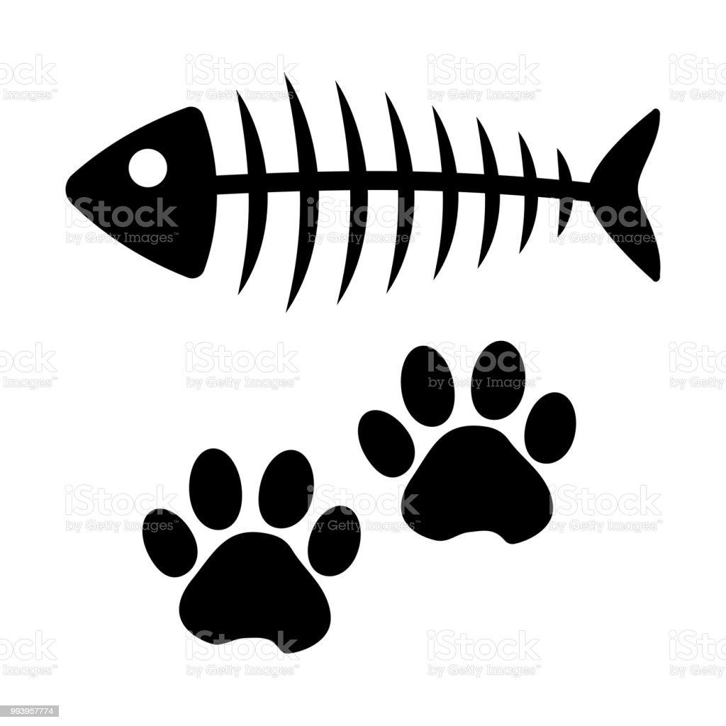 Fish bone and cat paw track. Black silhouette. Vector illustration vector art illustration