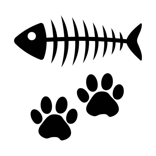 fish bone and cat paw track. black silhouette. vector illustration - fish skeleton stock illustrations, clip art, cartoons, & icons