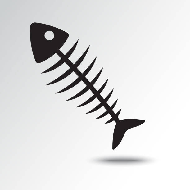 fish bone icon with shadow. vector illustration - fish skeleton stock illustrations, clip art, cartoons, & icons
