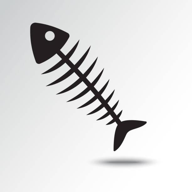 fish bone icon with shadow. vector illustration - animal skeleton stock illustrations