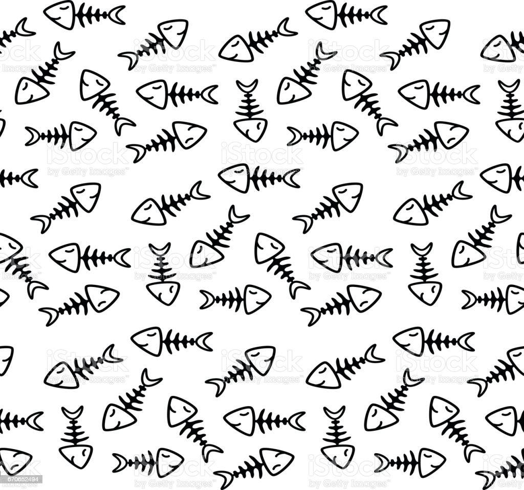 fish bone pattern vector art illustration