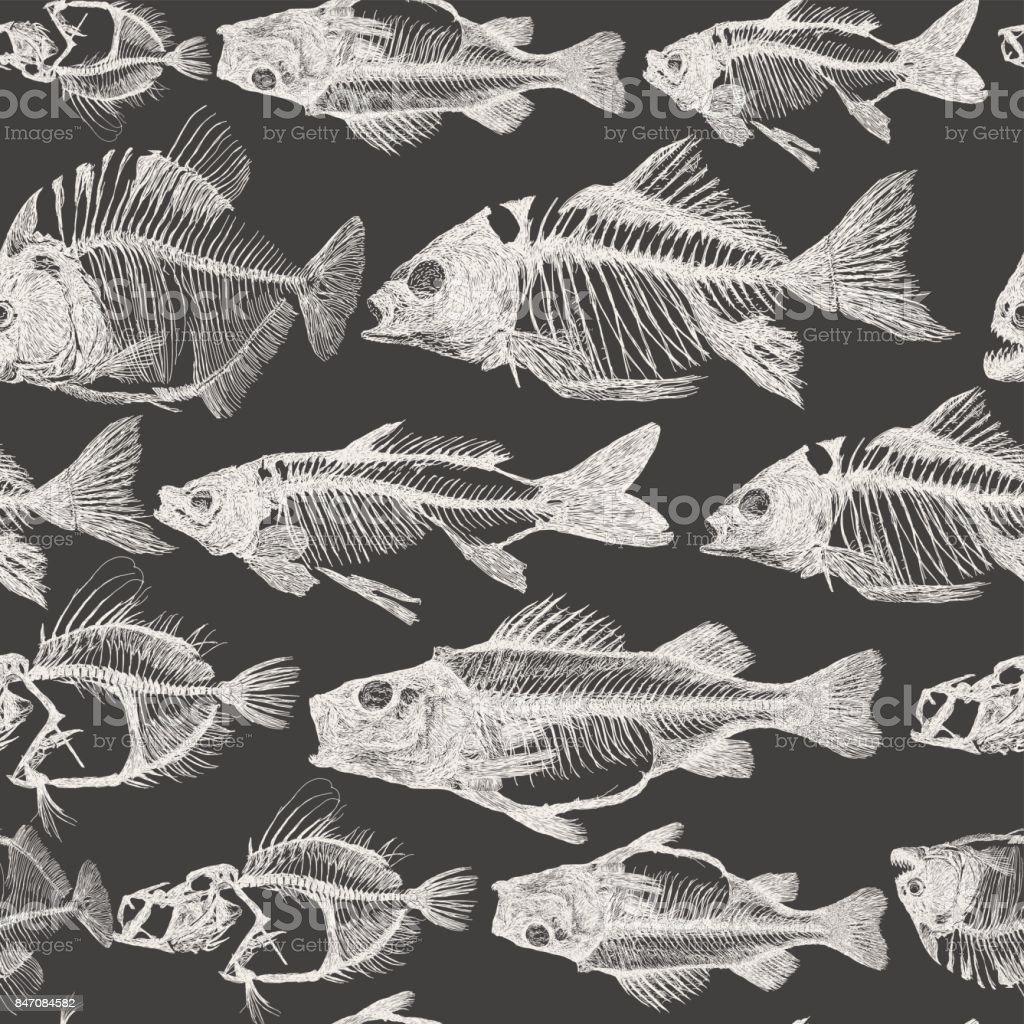 Fish Bone Repeat Pattern vector art illustration