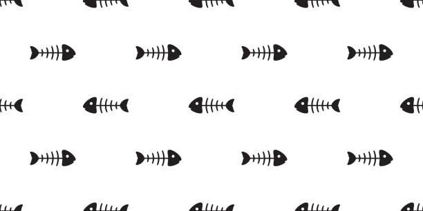 fish bone seamless pattern vector tuna salmon shark dolphin ocean sea tropical scarf isolated repeat wallpaper tile background - animal bone stock illustrations