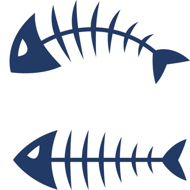 fish bone skeleton vector icon logo design - animal bone stock illustrations