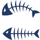 Fish bone skeleton vector icon logo design