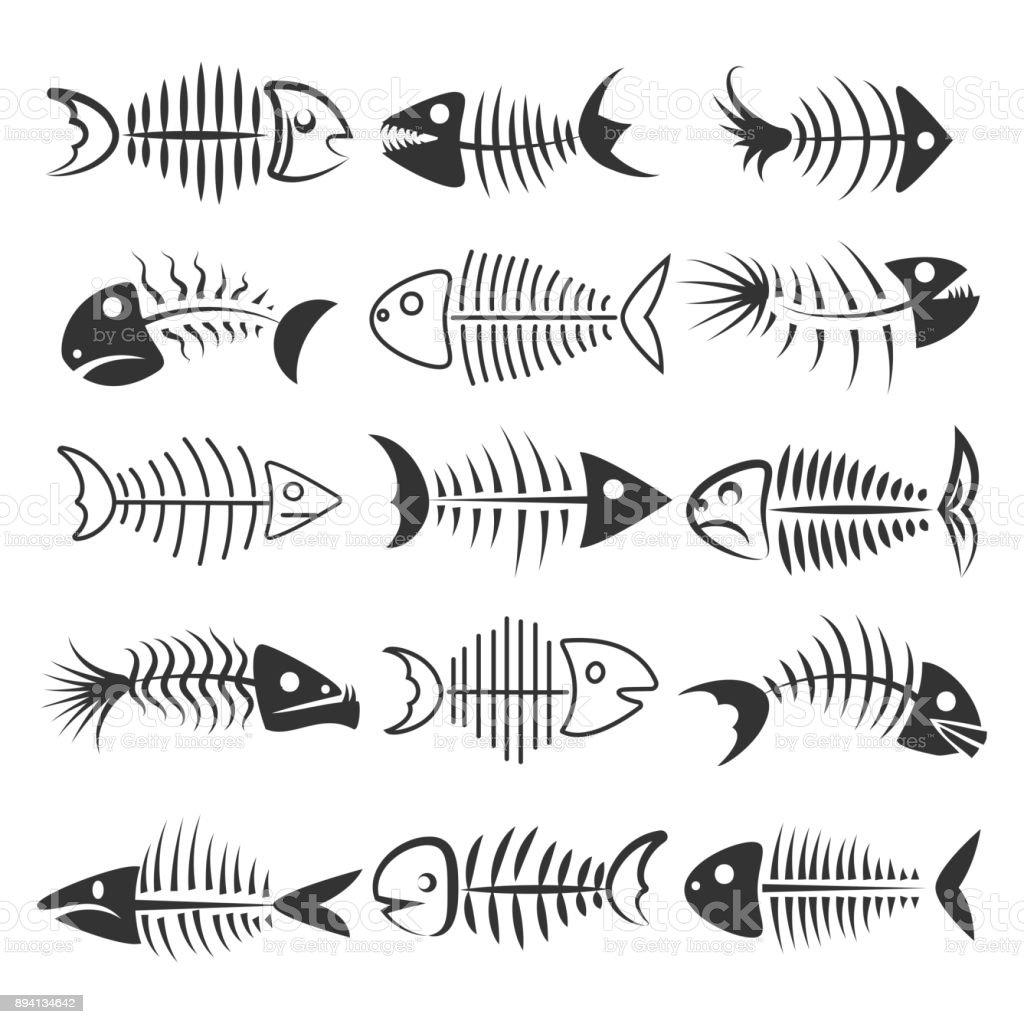 Fish bones silhouettes vector art illustration