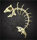 Fish Bones Skeleton Cartoon Character