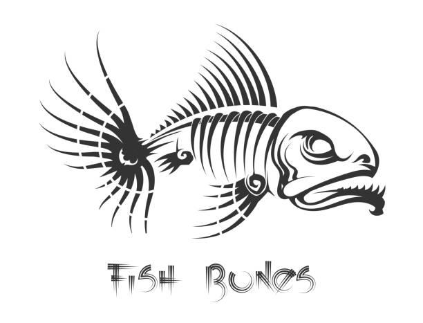 fish bones tattoo - animal skeleton stock illustrations