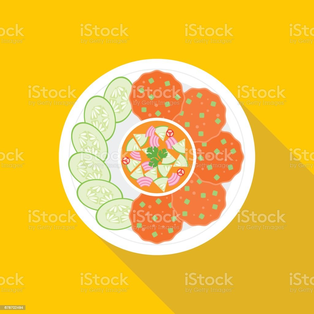 Fish cakes vector art illustration