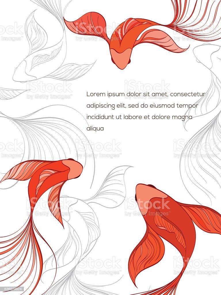 fish card vector art illustration