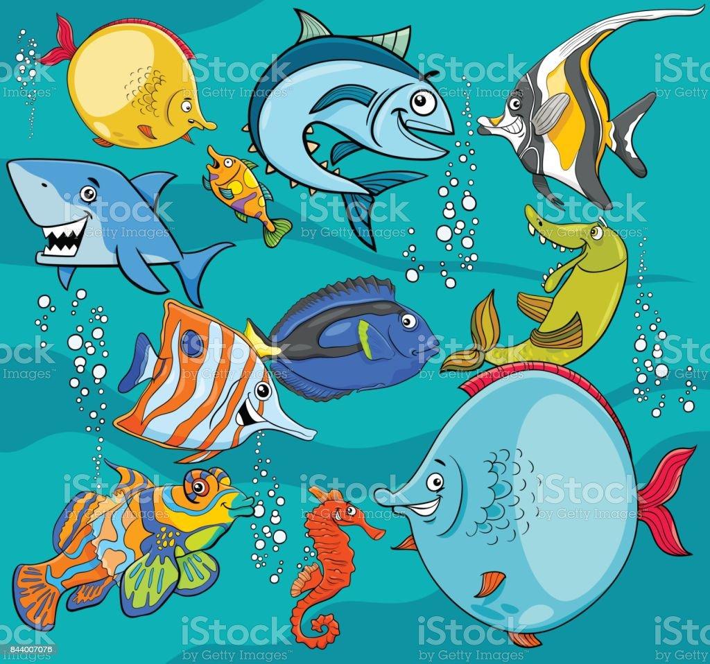 fish cartoon characters group vector art illustration