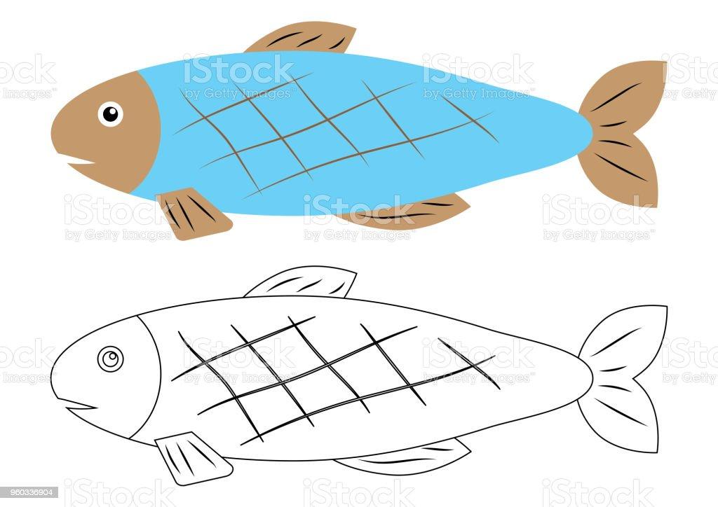 Balık Karikatür Boyama Kitabı Aktivite çocuklar Için Stok Vektör
