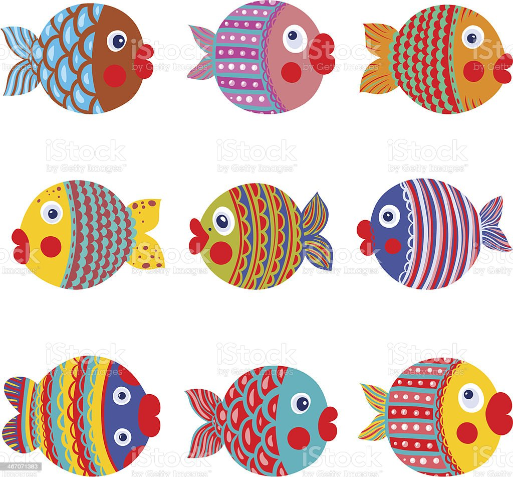 Collection de poissons color s dessin graphique cliparts - Dessiner un poisson facilement ...