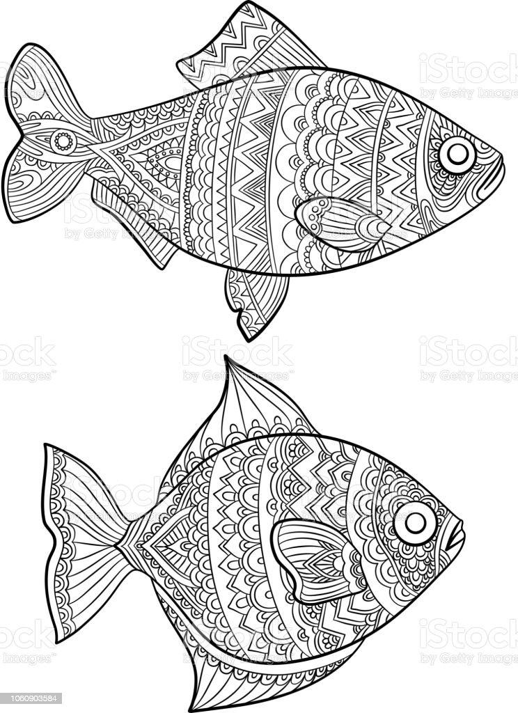 Ilustración De Peces Colorear Moda Dibujo Dibujos De Animales De Mar