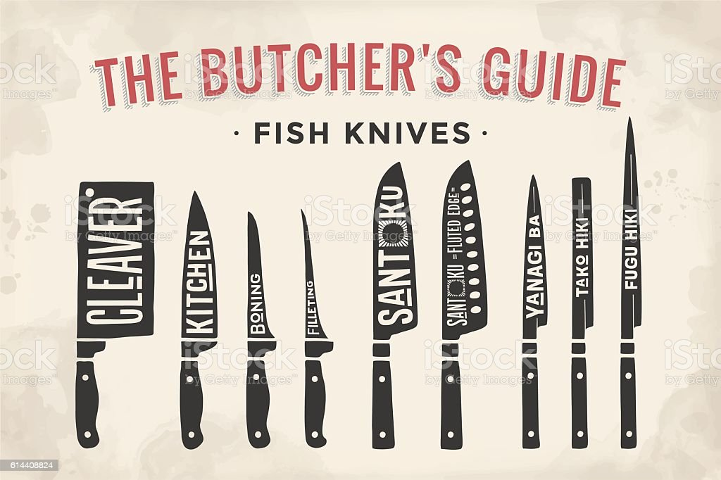 FIsh cutting knives set. Poster Butcher diagram and scheme vector art illustration