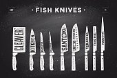 FIsh cutting knives set. Poster Butcher diagram and scheme