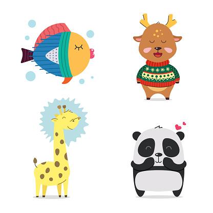 Fish, deer, giraffe, Panda. Cute cool little animals smiling. Kawaii cartoon baby animal character set. Flat hand drawn illustration kid's poster. Child theme. T-shirt print, wear, greeting card.