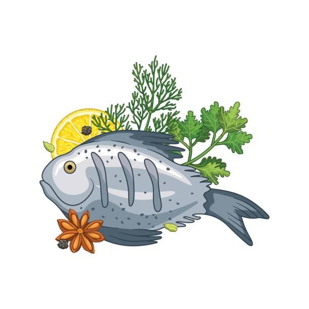 fisch teller vektor-illustration mit gewürzen - roastbeef stock-grafiken, -clipart, -cartoons und -symbole