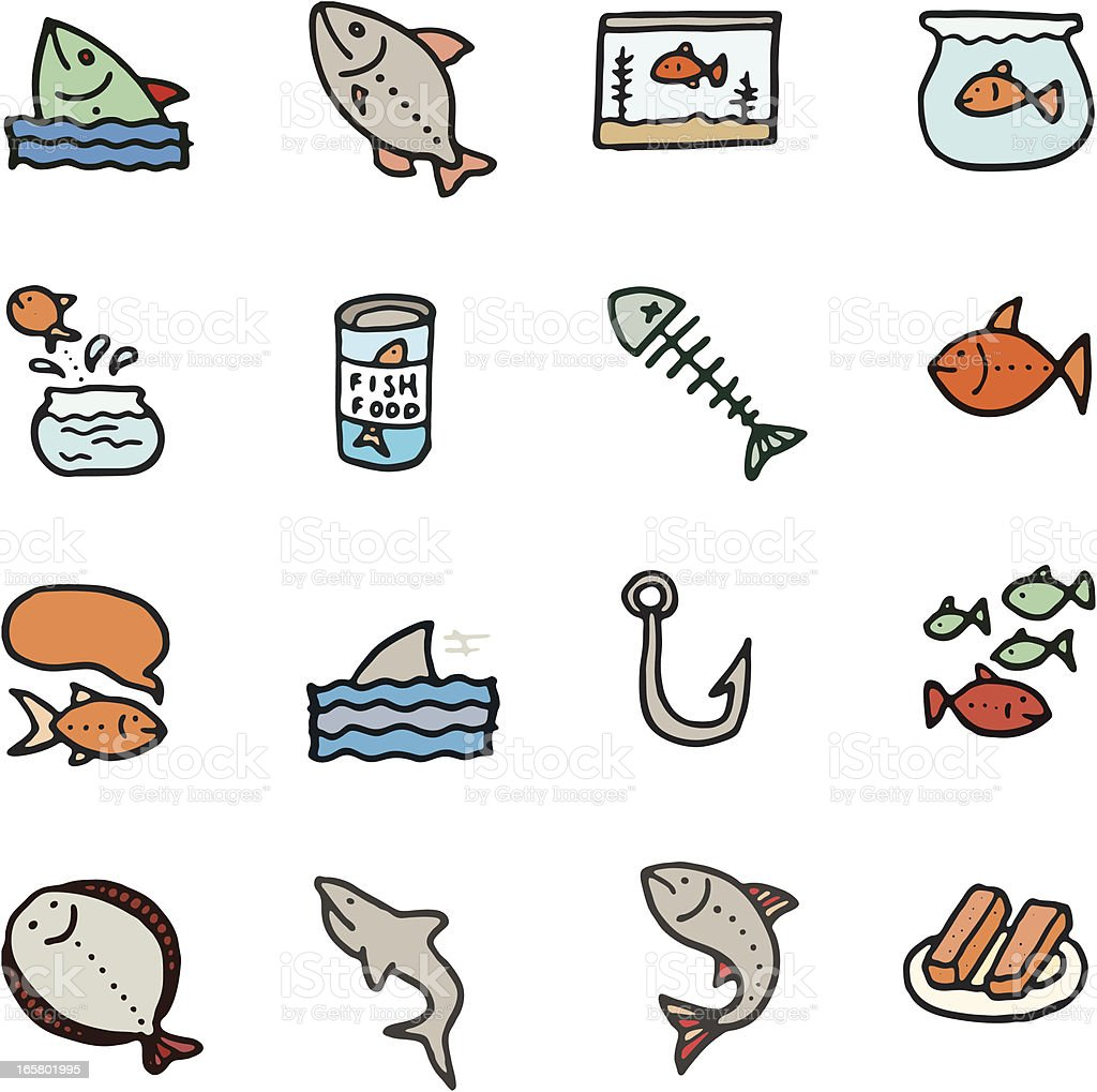 Fish doodle icon set royalty-free stock vector art