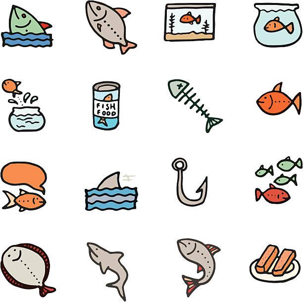 fish doodle icon-set - haifischköder stock-grafiken, -clipart, -cartoons und -symbole