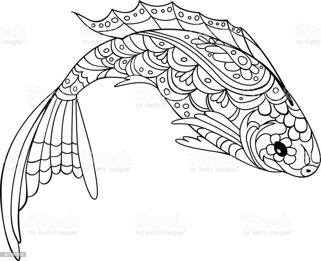Fish Doodle Style Coloring Book For Adult And Kids Antistress Pages Royalty