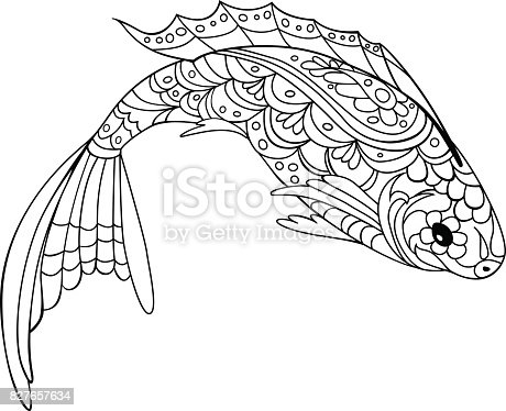 Fish Doodle Style Coloring Book For Adult And Kids