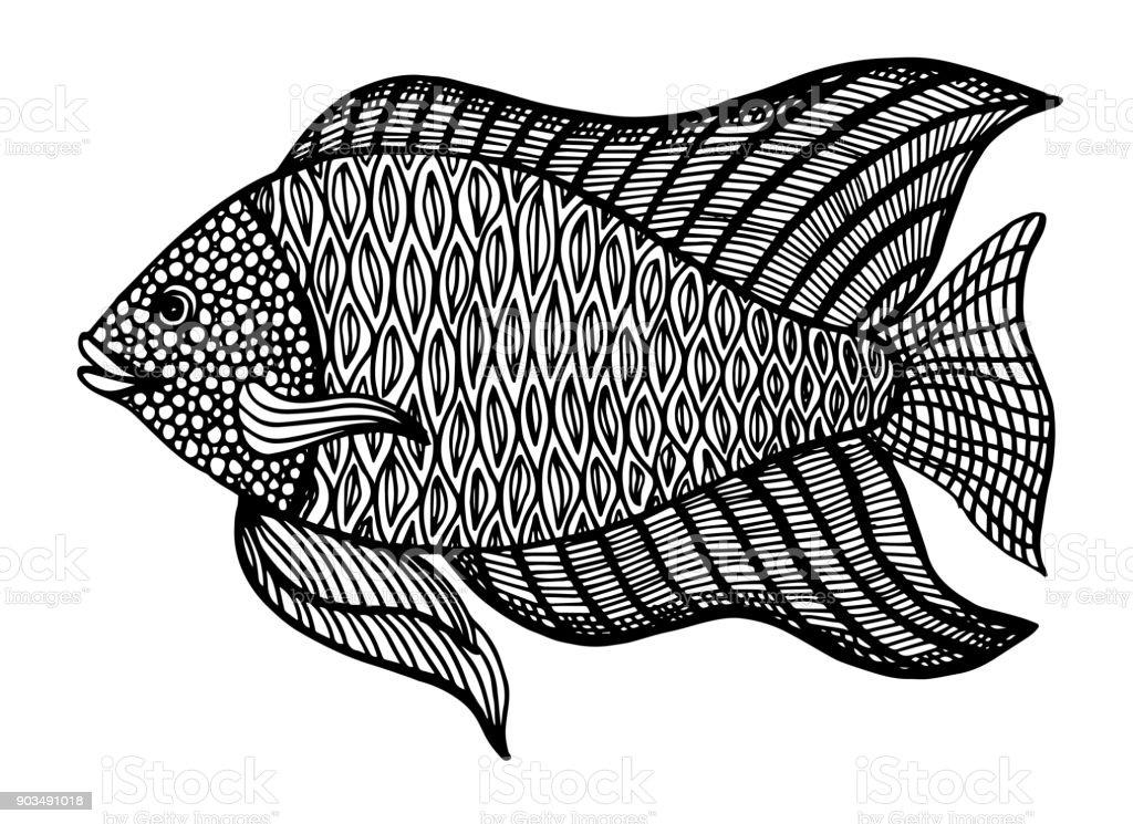 Ilustración de Pescado Doodle Estilo Colorear Libro Para Adultos Y ...