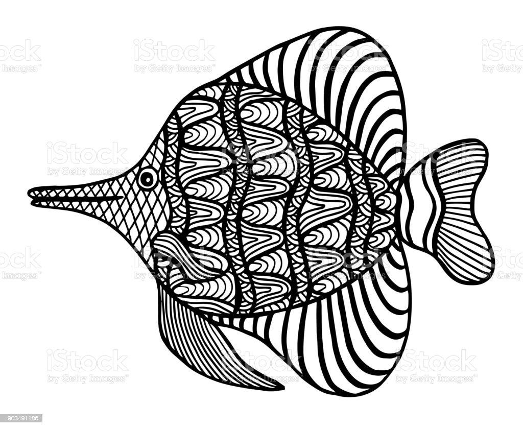 Balık Tarzı Doodle Boyama Kitabı Boyama Sayfaları Illüstrasyon