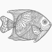 fish drawn with abstract floral ornaments on a white background for coloring, isolated vector, drawn vector