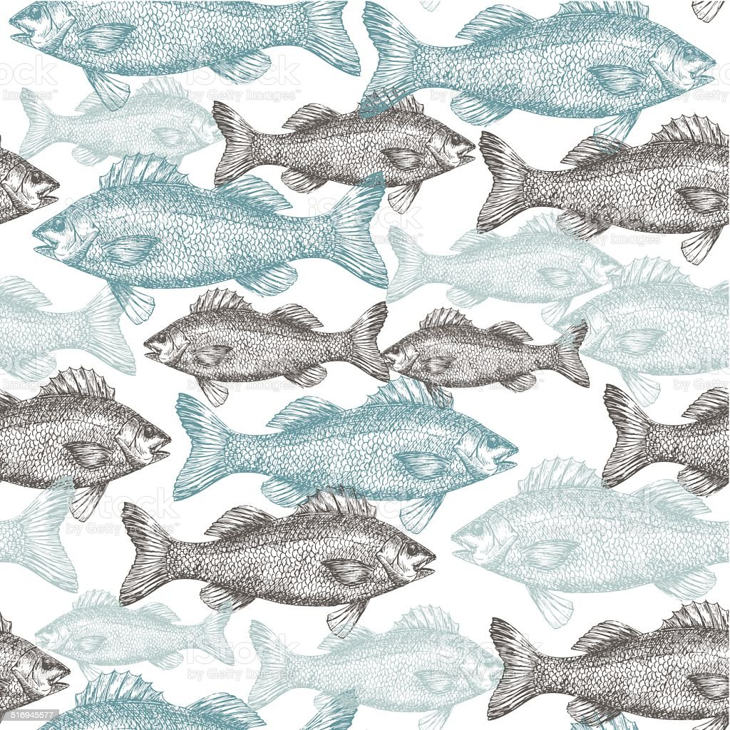 Ilustración de Las Marcas Patrón Sin Costuras De Pescado y más banco ...