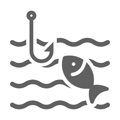 Fish, fishing icon. Gray vector on isolated white background
