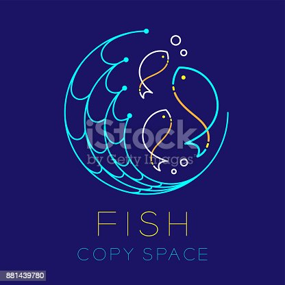 fish fishing net circle shape and air bubble symbol icon outline stroke set dash line design illustration isolated on dark blue background with fish text