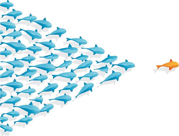 Fish   Follow the Leader vector art illustration