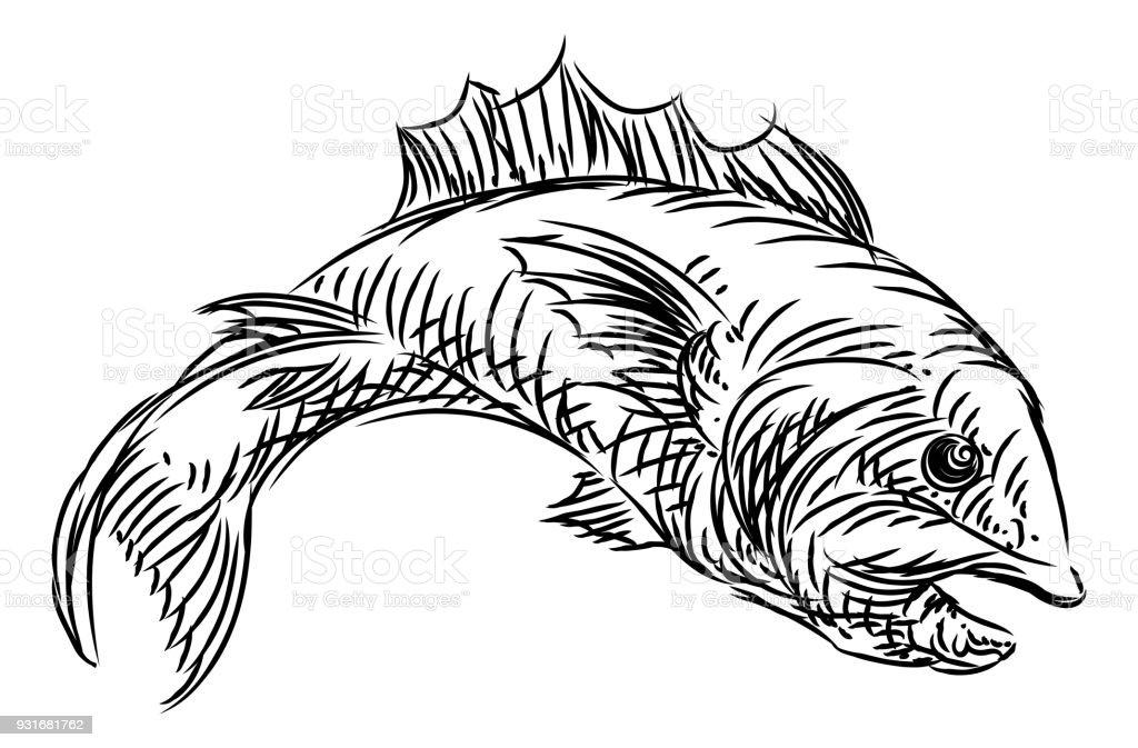 Fish Food Grunge Style Hand Drawn Icon vector art illustration