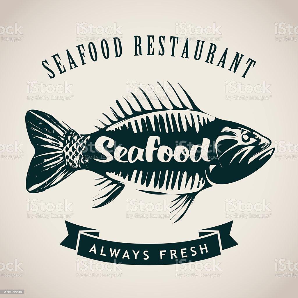fish for seafood restaurant vector art illustration