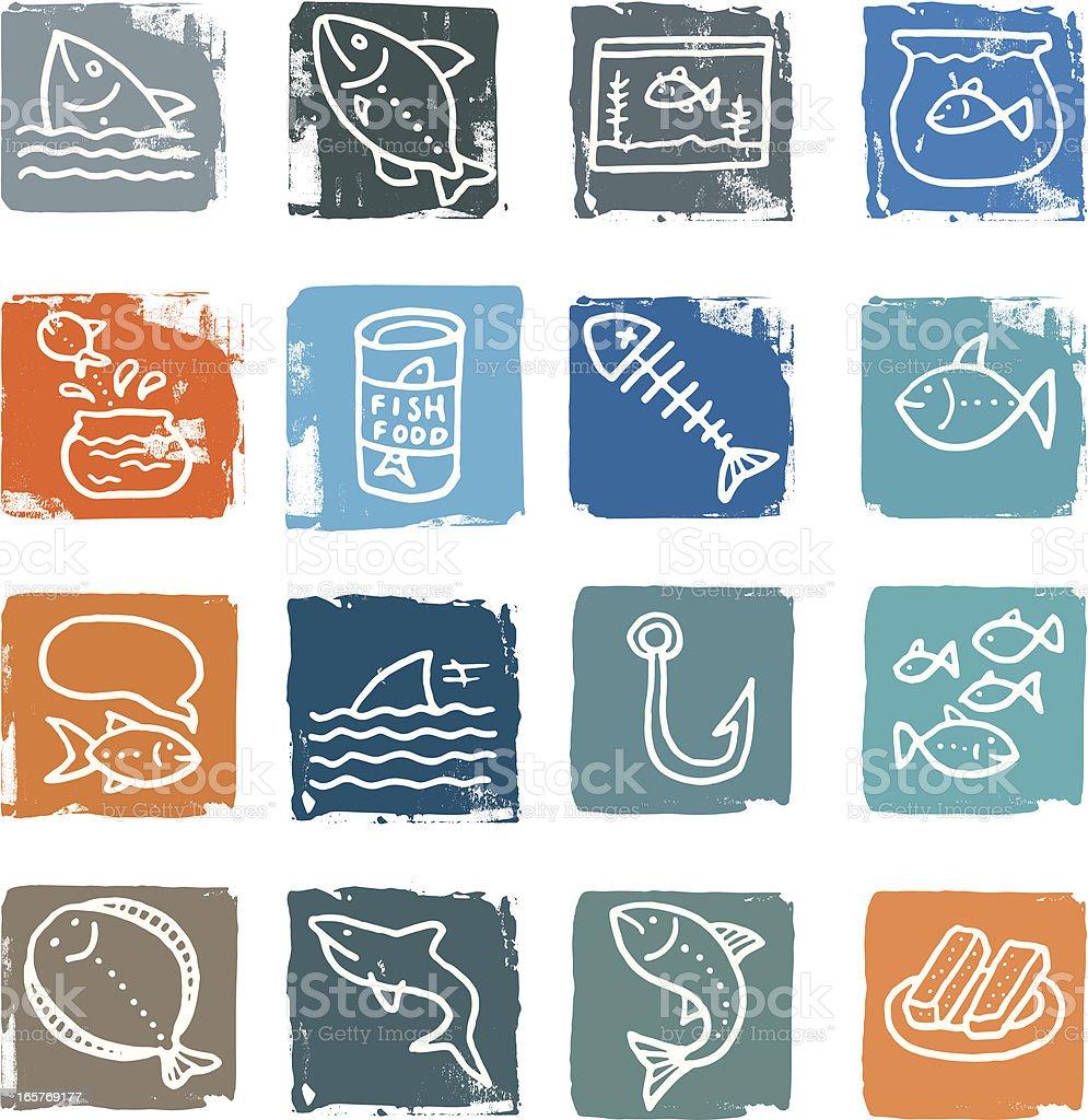 Fish grunge icon blocks royalty-free stock vector art