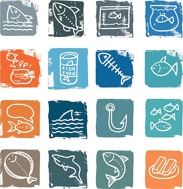fisch im grunge-symbol häuserblocks - haifischköder stock-grafiken, -clipart, -cartoons und -symbole