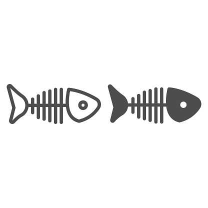 Fish head with bones and tail line and solid icon, fishing concept, fish skeleton sign on white background, silhouette of a fish skeleton icon in outline style for mobile and web. Vector graphics.