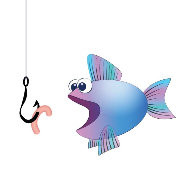 Fish hook with angling worm and a hungry fish - isolated vector comic illustration on white background. vector art illustration