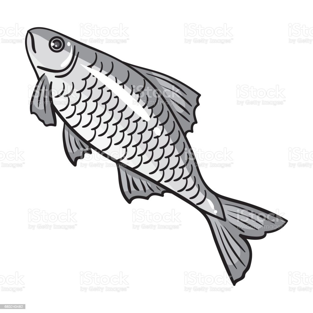 Fish icon in monochrome style isolated on white background. Fishing symbol stock vector illustration. Lizenzfreies fish icon in monochrome style isolated on white background fishing symbol stock vector illustration stock vektor art und mehr bilder von aquatisches lebewesen