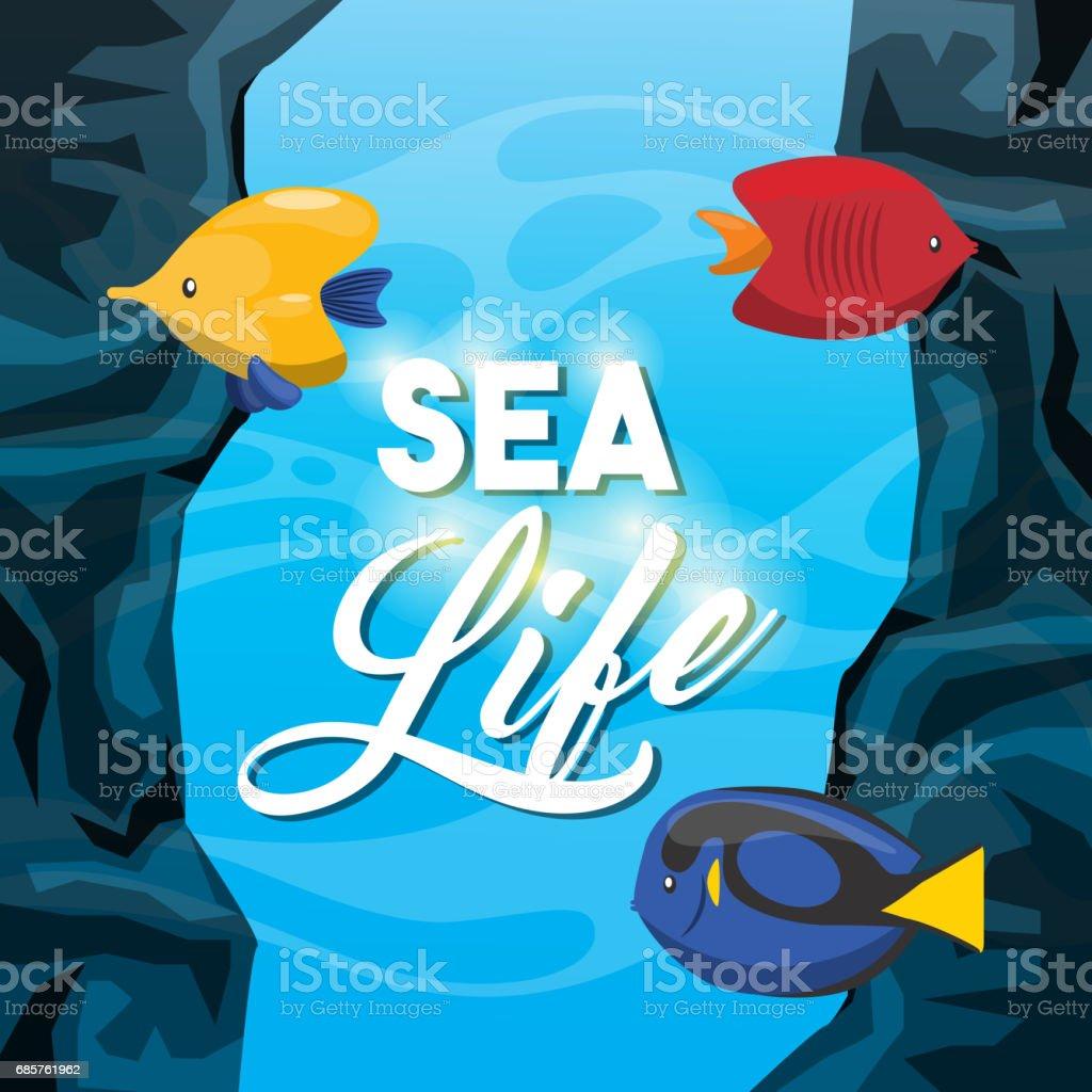 fish icon. Sea life design. Vector graphic fish icon sea life design vector graphic - stockowe grafiki wektorowe i więcej obrazów akwarium royalty-free