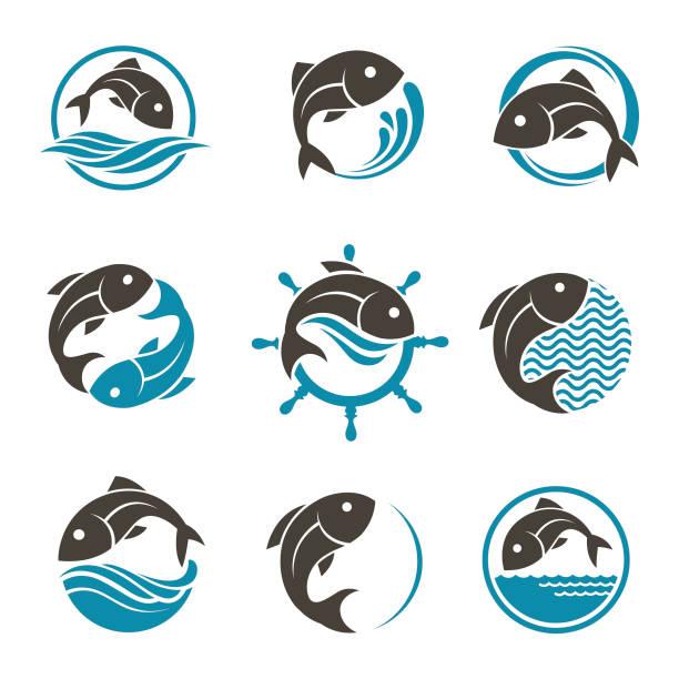 ilustrações de stock, clip art, desenhos animados e ícones de fish icon set - peixe