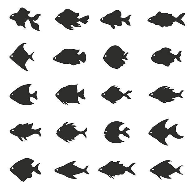 Fish icon set vector art illustration