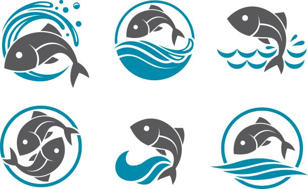 fish icon set collection of fish icon with waves freshwater fish stock illustrations