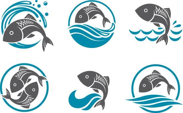 illustrazioni stock, clip art, cartoni animati e icone di tendenza di fish icon set - pesci