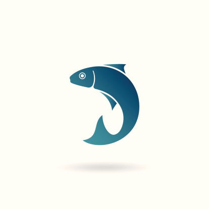 Illustration of stylized fish, can be used as icon, sign or logo.